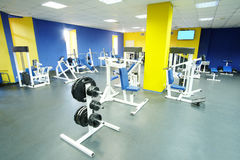 Fitness hall with sport equipment Royalty Free Stock Photos
