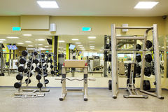 Fitness hall with wights and other sport equipment Royalty Free Stock Image