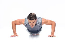 Fitness handsome man doing push ups Royalty Free Stock Photography
