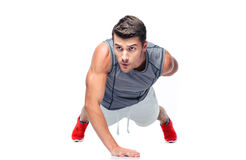 Fitness handsome man doing push ups Royalty Free Stock Image