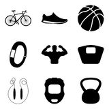 Fitness and health active simple icons set Royalty Free Stock Images