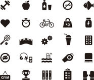 Fitness, health care and gym icon set Stock Image
