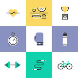 Fitness and health care pictogram icons set. Fitness, sport and healthy lifestyle: physical activity, award winning, dietary regime, well-being, human body Royalty Free Stock Photography