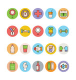 Fitness and Health Colored Vector Icons 7 Royalty Free Stock Photography