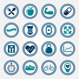 Fitness and health colorful flat icons set Stock Photos