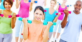 Fitness Health Gym Group Training Exercise Concept.  Royalty Free Stock Photography