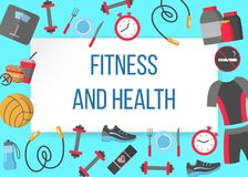 Fitness and health horizontal frame. With flat icons of healthy lifestyle diet food physical training vector illustration. Concept frame for design print media Stock Photos