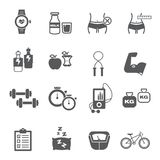 Fitness and health icon set royalty free illustration