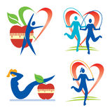 Fitness health icons. Icons with fitness and healthy lifestyle activities and symbols  Vector illustration Royalty Free Stock Photo