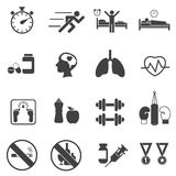 Fitness and Health icons. Healthy lifestyle. Royalty Free Stock Photo