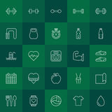 Fitness and health icons set. Fitness icons set - vector collection of sport and health line symbols Royalty Free Stock Photos