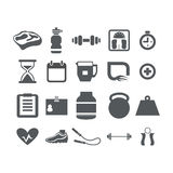 Fitness and Health icons set Stock Image