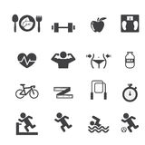 Fitness and Health icons set Stock Photos