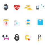 Fitness and health icons with white background.  Stock Photos