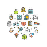 Fitness Health Life Round Design Template Thin Line Icon. Vector Stock Photography