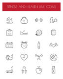 Fitness and Health line icon set. Stock Photo