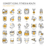 Fitness & Health , pixel perfect icon. Fitness & Health , thin line icons set ,pixel perfect icon Stock Image