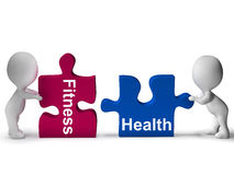 Fitness Health Puzzle Shows Healthy Lifestyle Stock Image