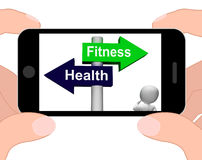Fitness Health Signpost Displays Healthy Lifestyle Royalty Free Stock Photos