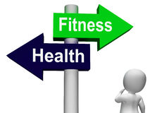 Fitness Health Signpost Shows Healthy Lifestyle Stock Photos