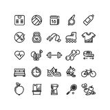 Fitness health sport vector outline icons Royalty Free Stock Photos