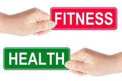 Fitness and Health traffic sign in the hand Stock Image