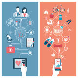 Fitness and healthcare. Healthcare, hospitals, fitness and sports concepts connecting on a digital tablet and on a smartphone with user hand Royalty Free Stock Photo