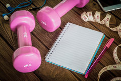 Fitness, healthy and active lifestyles Concept, dumbbells, blank Stock Photo