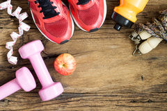 Fitness, healthy and active lifestyles Concept, dumbbells, sport Stock Image