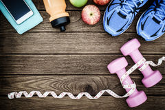 Fitness, healthy and active lifestyles Concept, dumbbells, sport Stock Photos