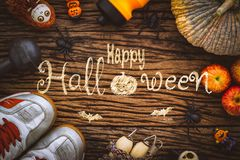 Fitness, healthy and active lifestyles Concept, Top view image o. Happy Halloween day with Fitness, Working out healthy lifestyle background concept stock photos