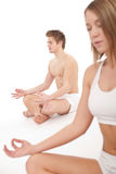 Fitness - Healthy couple in yoga position Stock Images
