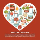 Fitness healthy food heart poster of sport diet food nutrition and dietary supplement icons. Royalty Free Stock Images