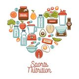 Fitness food and sports healthy diet nutrition products supplements vector heart poster stock illustration