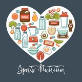 Fitness healthy food heart poster of sport diet food nutrition and dietary supplement icons. Stock Images