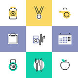 Fitness and healthy food pictogram icons set Stock Photos