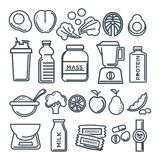 Healthy lifestyle and fitness food nutrition vector flat outline sketch line icons. Fitness healthy food of sport diet food nutrition and dietary supplement Royalty Free Stock Photos