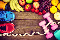 Fitness, healthy fruits fresh healthy salad, diet and active li Royalty Free Stock Photography