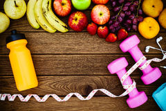 Fitness, healthy fruits fresh healthy salad, diet and active li Royalty Free Stock Image