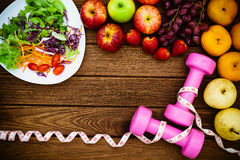 Fitness, healthy fruits fresh healthy salad, diet and active li Stock Image
