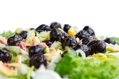 Fitness healthy green salad, olives, cabbage, onions for slim di stock photos
