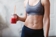 Fitness and healthy lifestyle concept with detox smoothie Royalty Free Stock Photo
