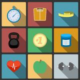 Fitness healthy lifestyle icons set Royalty Free Stock Photo