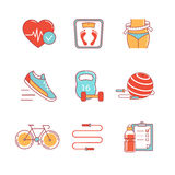 Fitness and healthy lifestyle thin line icons set Stock Photography