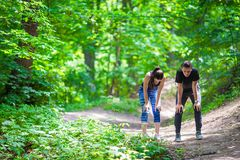 Fitness healthy lifestyle of young couples Royalty Free Stock Photography
