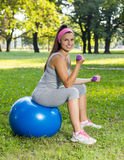 Fitness Healthy Smiling Young Woman Exercise on Pilates Ball Royalty Free Stock Images