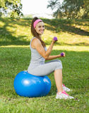 Fitness Healthy Smiling Young Woman Exercise on Pilates Ball Royalty Free Stock Photography