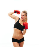 Fitness healthy women boxing in studio isolated Stock Photography