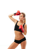 Fitness healthy women boxing in studio isolated Stock Images