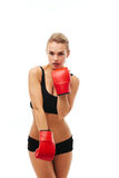 Fitness healthy women boxing in studio isolated Royalty Free Stock Photos